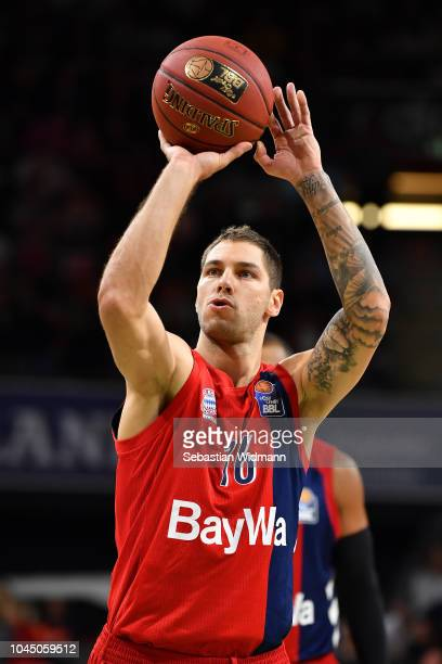 Sefan Jovic of Bayern Muenchen prepares for a free throw during the easyCredit BBL Bundesliga match between FC Bayern Muenchen and RASTA Vechta at...