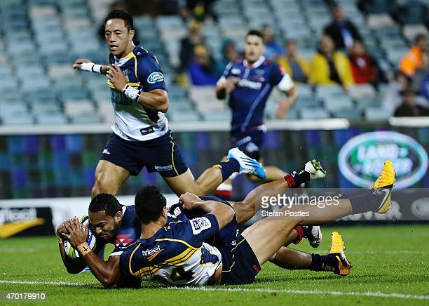 Sefanaia Naivalu of the Rebels scores a try during the round 10 Super Rugby match between the Brumbies and the Rebels at GIO Stadium on April 18 2015...