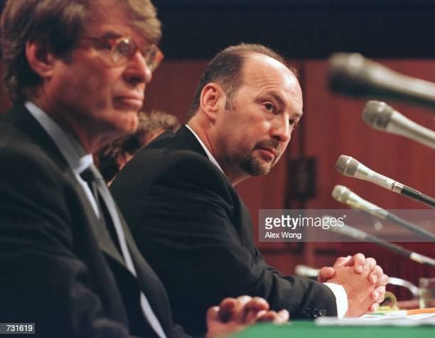 Sega America President and COO Peter Moore right testifies before the Senate Commerce Committee as Acclaim Entertainment President and CEO Gregory...