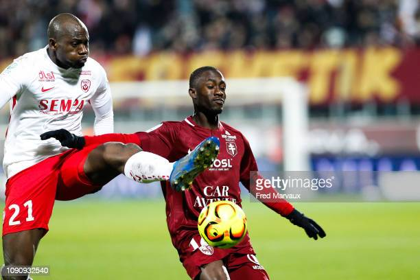 Sega Coulibaly of Nancy and Ablie Jallow of Metz during the Ligue 2 match between Metz and Nancy on January 29 2019 in Metz France