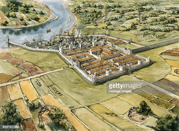 Segedunum Roman Fort c3rd century An aerial view reconstruction drawing Segedunum was a Roman fort at modernday Wallsend Tyne and Wear England UK The...
