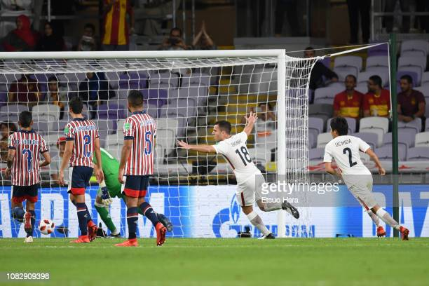 Seginho of Kashima Antlers celebrates scoring his side's second goal during the match between Kashima Antlers and CD Guadalajara on December 15, 2018...
