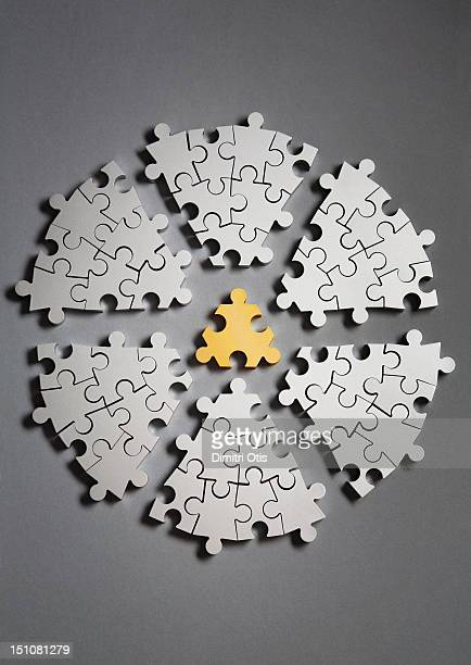 Segmented radial puzzle, gold piece in centre