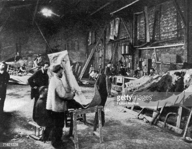 Segments of the Statue of Liberty during its construction in the workshop of French sculptor Frederic Auguste Bartholdi Paris France circa 1880
