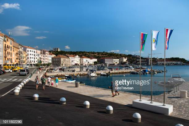 Segna (Senj) -City center with the dock and views of the castle