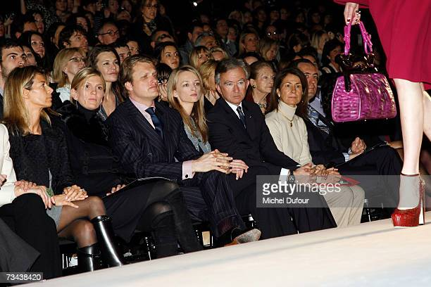 Segolene Frere Alessandro Vallarino Gancia Delphine Arnault and Bernard Arnault attend the Christian Dior Fashion show as part of Paris Fashion Week...