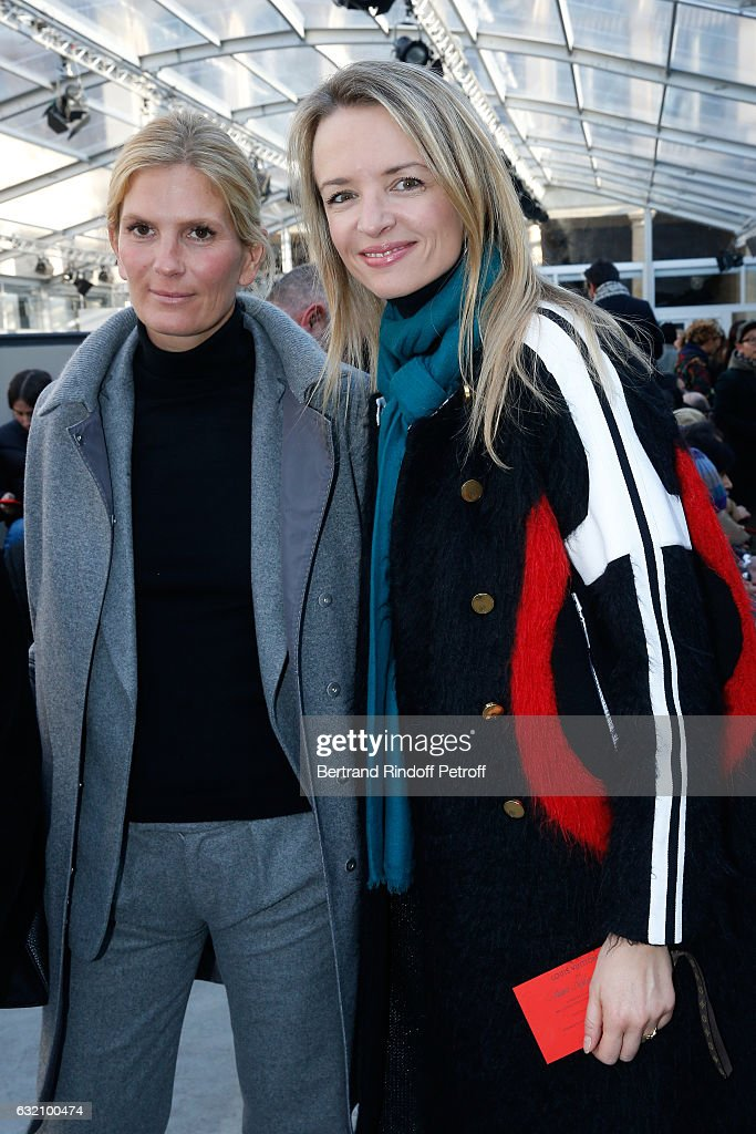 Segolene Frere-Gallienne and Louis Vuitton's executive vice president, Delphine Arnault attend the Louis Vuitton Menswear Fall/Winter 2017-2018 show as part of Paris Fashion Week. Held at Palais Royal on January 19, 2017 in Paris, France.