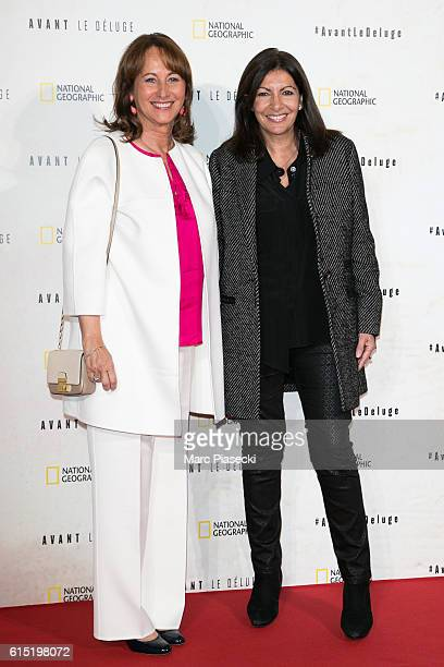 Segolene Royal and Mayor of the city of Paris Anne Hidalgo attend the 'Before the Flood Avant le Deluge' Premiere at Theatre du Chatelet on October...