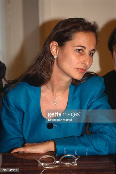 Segolene Royal DeuxSevres MP since 1988 listens during the Democracy 2000 meeting held at Socialist Party headquarters in rue de Solferino