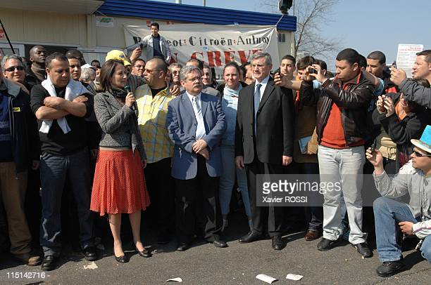 Segolene Royal , France's Socialist Party presidential candidate, meets automaker PSA Peugeot Citroen workers on strike in front of the PSA plant in...