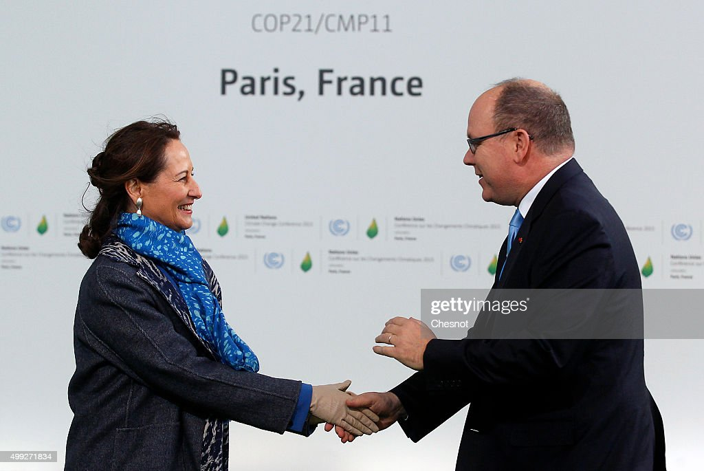 Segolene Royal, French Minister of Ecology, Sustainable Development and Energy welcomes Prince Albert II of Monaco (R) as he arrives for the COP21 United Nations Climate Change Conference on November 30, 2015 in Le Bourget, France. More than 150 world leaders are meeting for the 21st Session of the Conference of the Parties to the United Nations Framework Convention on Climate Change (COP21/CMP11), from November 30 to December 11, 2015.