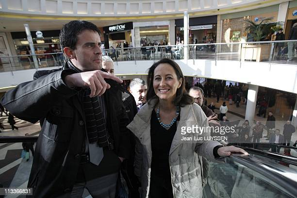 Segolene Royal In The Displacement To Evry To Support Manuel Valls In Evry, France On February 02, 2008 - Segolene Royal and Manuel Valls.