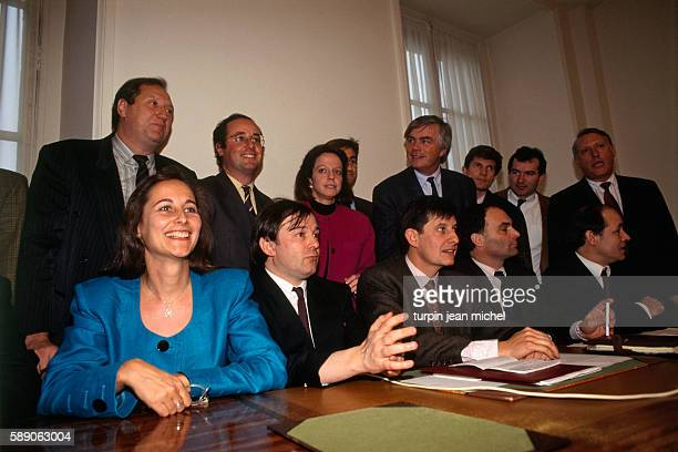 Segolene Royal lawyer JeanPierre Mignard JeanPierre Jouyet President of 'Democracy 2000' and cabinet leader Roger Fauroux xx and JeanPierre Balligand...