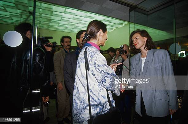 Segolene Royal shaking hands with Valerie Treirweiler Massonneau at the steering committee of the Socialist Party in the National Assembly Paris on...