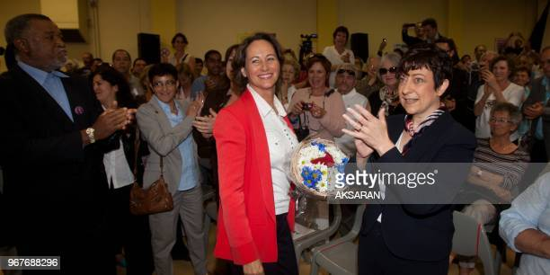 Segolene Royal, Socialist candidate in the primaries for the French presidential election of 2012, continues to campaign here at a public meeting in...
