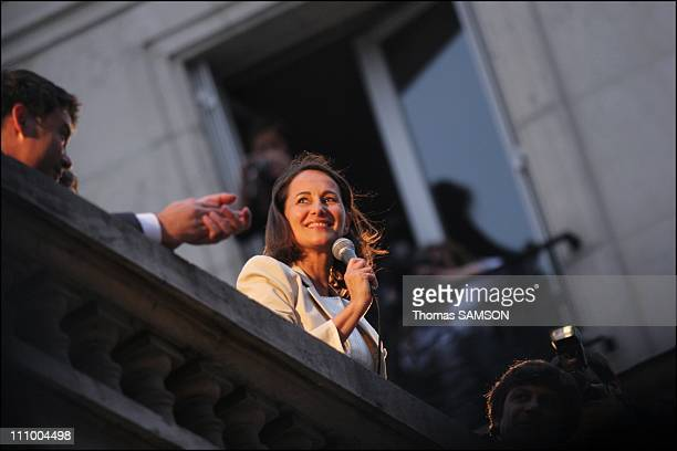 Segolene Royal speaks to supporters at the PS headquarter after her defeat to french presidential in Paris France on May 06th 2007