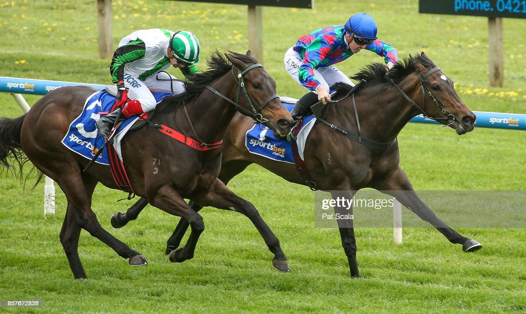 Segouin ridden by Ben E Thompson wins the Medical Edge Maiden Plate at Sportsbet-Ballarat Racecourse on October 05, 2017 in Ballarat, Australia.