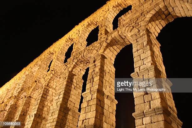 segovia aqueduct - segovia stock photos and pictures