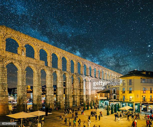 segovia at night - segovia stock pictures, royalty-free photos & images