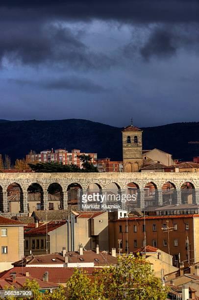 Segovia old town and ancient Roman Aqueduct
