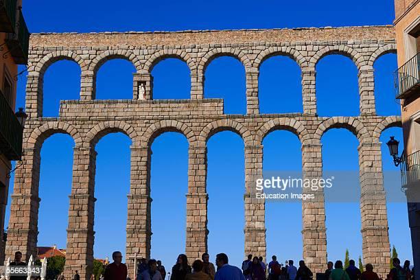 Segovia Roman Aqueduct Azoguejo Square CastillaLeon Spain