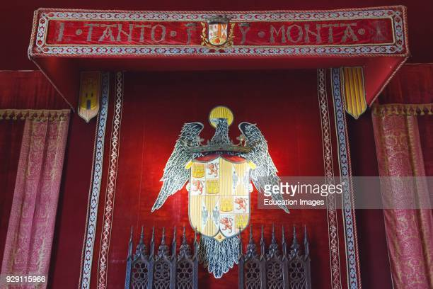 Segovia Segovia Province Spain Throne room in the Alcazar Coat of arms of the Catholic Kings Fernando II of Aragón and Isabel I of Castilla Canopy...