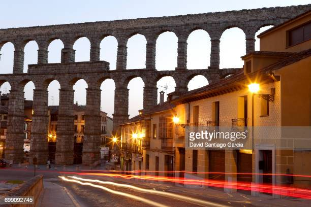 Segovia, Spain at the ancient Roman aqueduct and Azoguejo Square