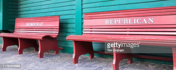 Segregated benches for Democrat and Republican at Pride's Crossing former railroad crossing in Massachusetts USA