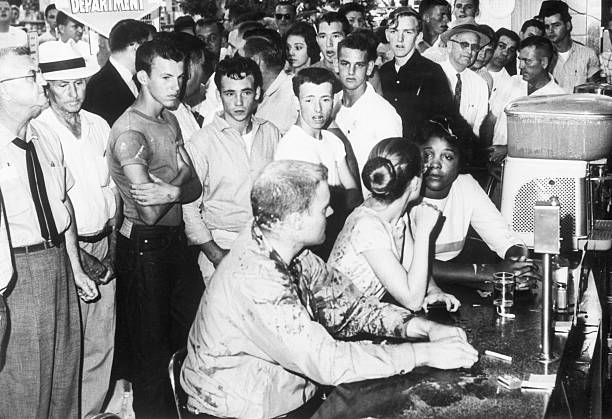 Segregation protesters Professor John R Salter Joan Trunpauer and Annie Moody remain at a sitin at a lunch counter in Jackson Mississippi even after...