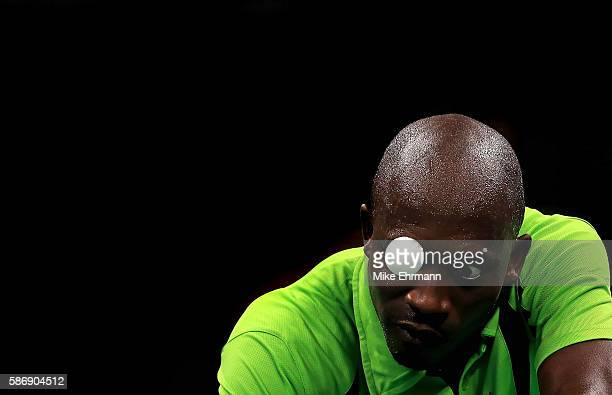 Segun Toriola of Nigeria plays a Men's Singles second round match against Koki Niwa of Japan on Day 2 of the Rio 2016 Olympic Games at Riocentro...