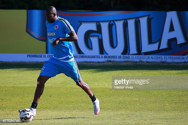 Segundo Ibarbo of Colombia drives the ball during a training session at San Carlos de Apoquindo training camp on June 13, 2015 in Santiago, Chile....