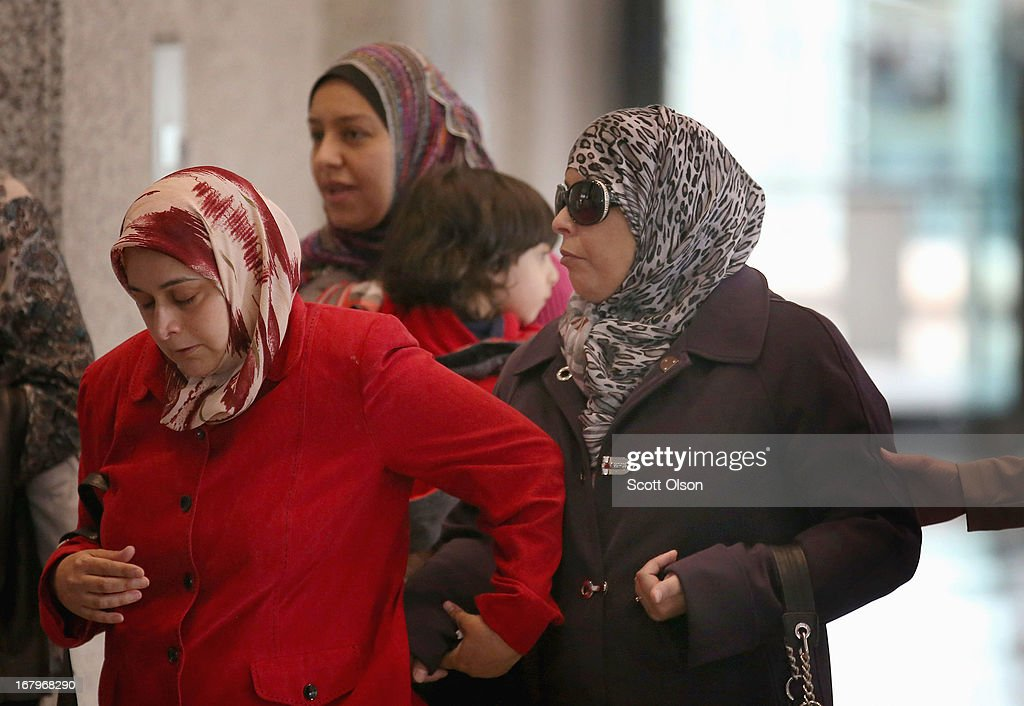 Seham Tounisi (R), the mother of 18-year-old Abdella Ahmad Tounisi, leaves the Dirksen Federal Building on May 3, 2013 in Chicago, Illinois. A judge today overturned yesterday's decision by Judge Daniel Martin to release Abdella Tounisi on bond. Tounisi is accused of trying to fly to Turkey to join up with an al-Qaida group to fight in Syria. He has also been accused of plotting to bomb a Chicago bar last year.