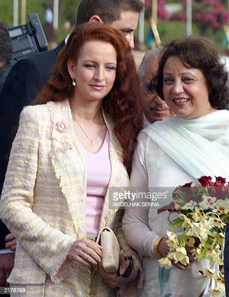 Sehba Musharraf wife of the Pakistani president and Princess Lalla Salma wife of the king of Morocco pose at the royal palace of Rabat 17 July 2003...