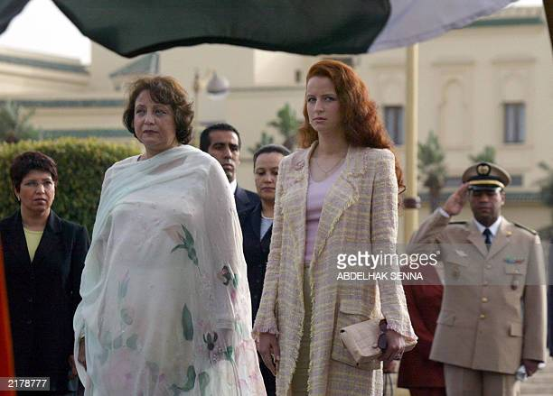 Sehba Musharraf wife of the Pakistani president and Princess Lalla Salma wife of the king of Morocco pose at the royal palace at Rabat 17 July 2003...