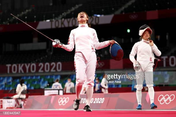 Sehee Kim of Team South Korea celebrates during the Fencing Ranked Round of the Women's Modern Pentathlon on day thirteen of the Tokyo 2020 Olympic...