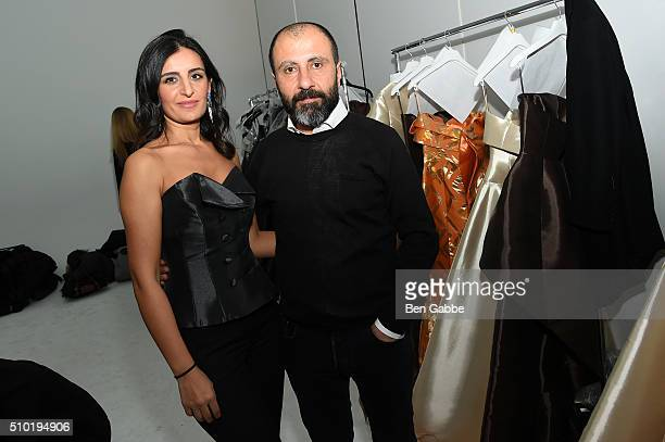 Sehristan Ataker and John Paul Ataker attend the John Paul Ataker show Backstage at Pier 59 on February 11 2016 in New York City