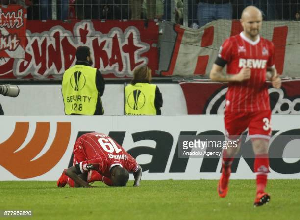 Sehrou Guirassy of 1FC Cologne celebrates after scoring a goal during the UEFA Europa League Group H soccer match between 1FC Cologne and Arsenal FC...