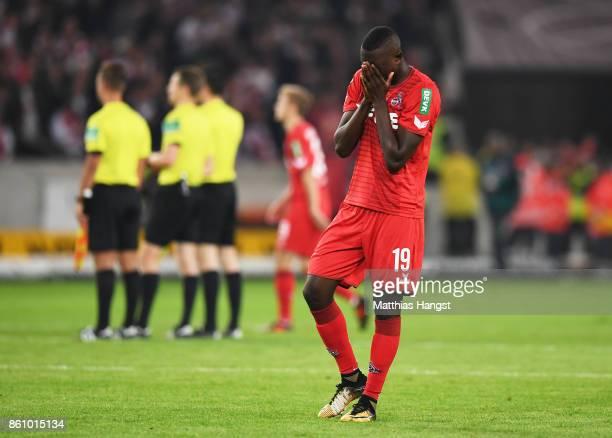 Sehrou Guirassy of 1FC Koeln is dejected after losing the Bundesliga match between VfB Stuttgart and 1 FC Koeln at MercedesBenz Arena on October 13...