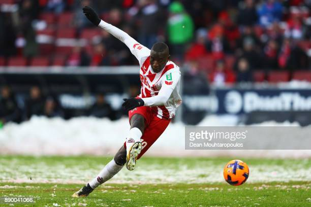 Sehrou Guirassy of FC Koeln in action during the Bundesliga match between 1 FC Koeln and SportClub Freiburg at RheinEnergieStadion on December 10...