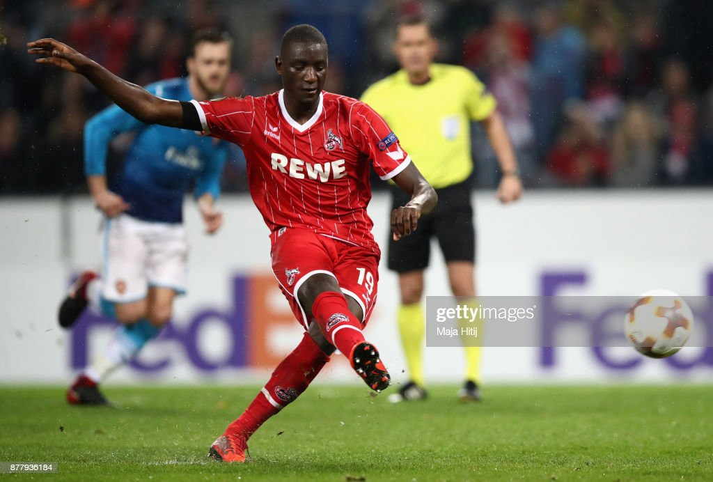 Sehrou Guirassy of FC Koeln scores his sides first goal during the UEFA Europa League group H match between 1. FC Koeln and Arsenal FC at RheinEnergieStadion on November 23, 2017 in Cologne, Germany.
