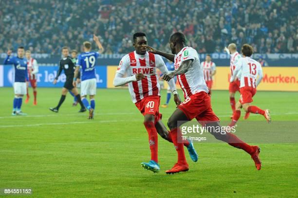 Sehrou Guirassy of Koeln celebrates after scoring his team`s first goal with Yann Aurel Bisseck of Koeln during the Bundesliga match between FC...