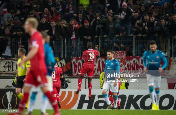 Sehrou Guirassy of Koeln celebrates his teams first goal during the UEFA Europa League group H match between 1 FC Koeln and Arsenal FC at...