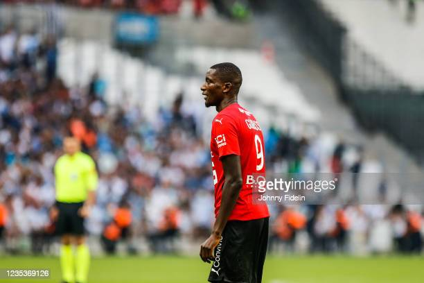 Sehrou GUIRASSY of Rennes during the Ligue 1 Uber Eats match between Marseille and Rennes at Orange Velodrome on September 19, 2021 in Marseille,...
