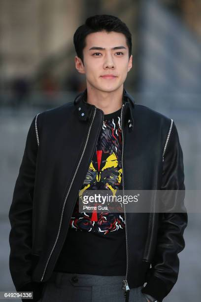 Sehun arrives at the Louis Vuitton show as part of the Paris Fashion Week Womenswear Fall/Winter 2017/2018 on March 7 2017 in Paris France