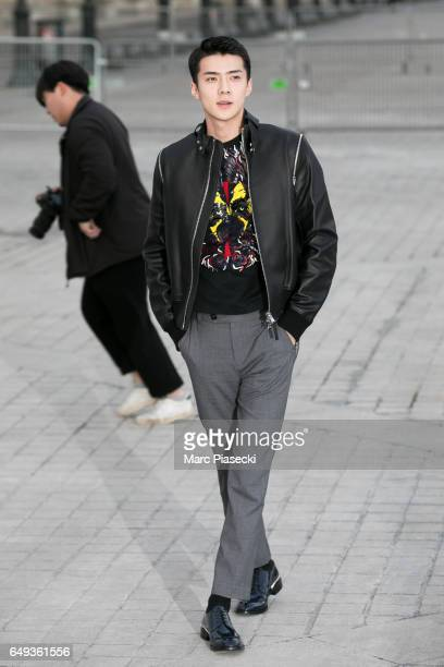 Sehun attends the Louis Vuitton show as part of the Paris Fashion Week Womenswear Fall/Winter 2017/2018 on March 7 2017 in Paris France