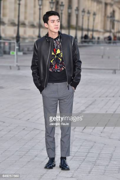Sehun is seen arriving at Louis Vuitton fashion show during the Paris Fashion Week Womenswear Fall/Winter 2017/2018 on March 7 2017 in Paris France