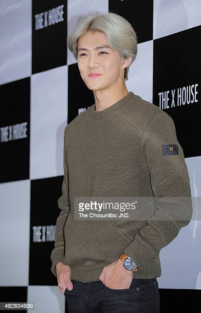 Sehun of EXO attends the EXR flagship store opening event at Sinsadong on October 12 2015 in Seoul South Korea