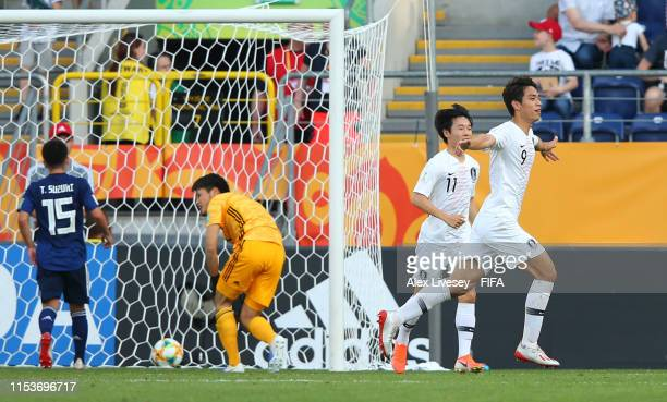 Sehun Oh of Korea Republic celebrates after scoring his team's first goal during the 2019 FIFA U-20 World Cup Round of 16 match between Japan and...