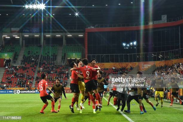 Sehun Oh of Korea Republic celebrates scoring a goal during the FIFA U20 World Cup match between Korea Republic and Argentina on May 31 2019 in Tychy...