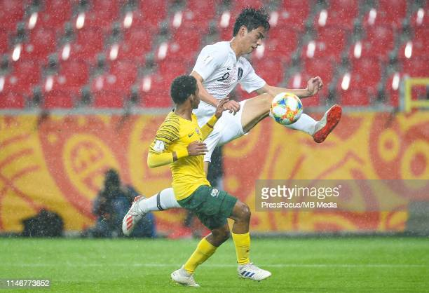 Sehun Oh of Korea Republic in action during the FIFA U20 World Cup match between South Africa and Korea Republic on May 28 2019 in Tychy Poland